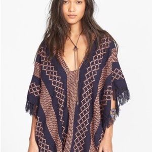 Free People lightweight woven poncho one size boho